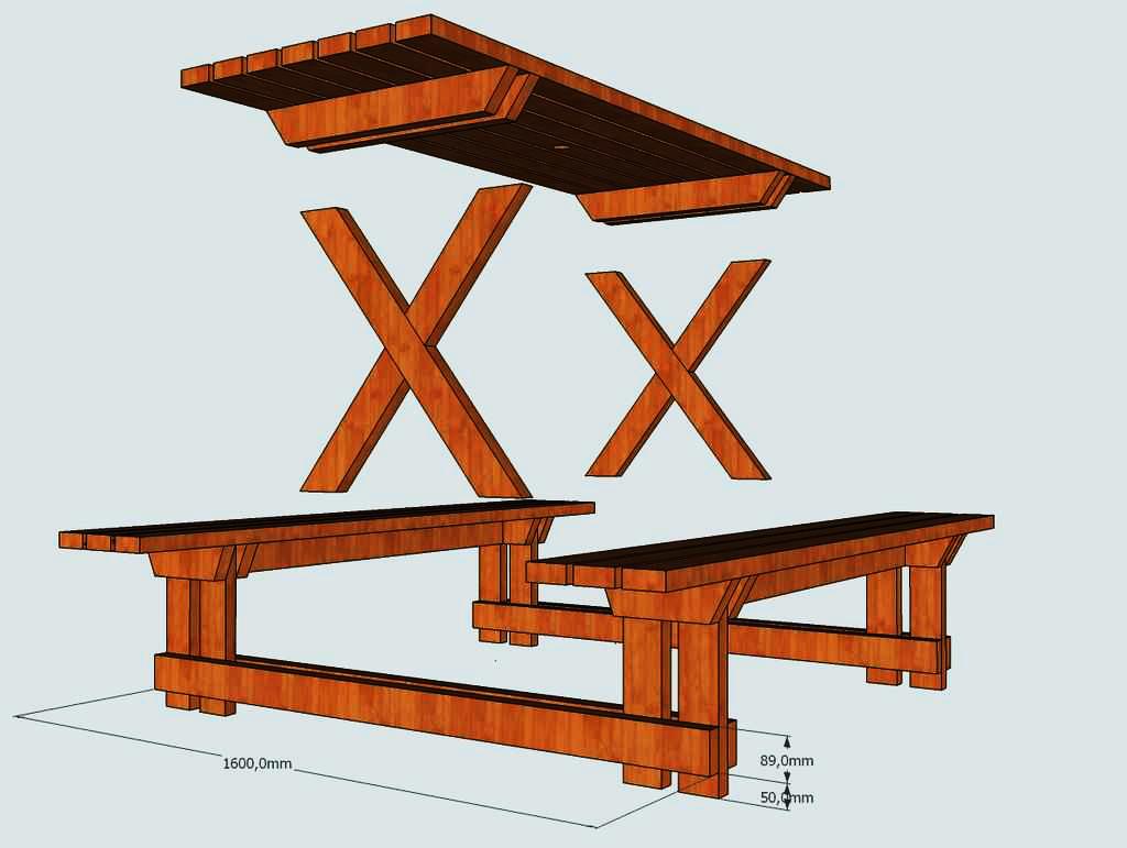 Стол на даче из дерева своими руками 15